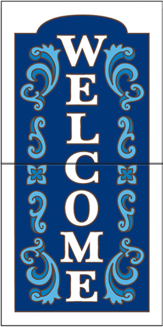 "12"" x 6"" Tile Sign Ornate Welcome White"