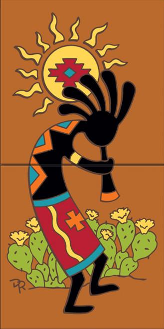 "12"" x 6"" Tile Sign Kokopelli's Southwest Sun Terra Cotta"