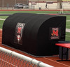 Black MVP Stadium Bench Shelter and Cover for soccer teams