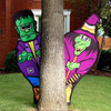 Frankenstein and Witch Behind Tree