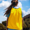 Premium Soccer Bibs Adult Set Yellow Back Close Up