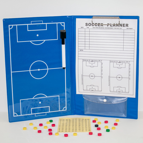 Magnetic soccer coaching clip board with numbered magnets and dry erase