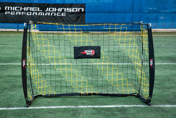 4x6 QuickFire Bow Style Goal with black and yellow striped net