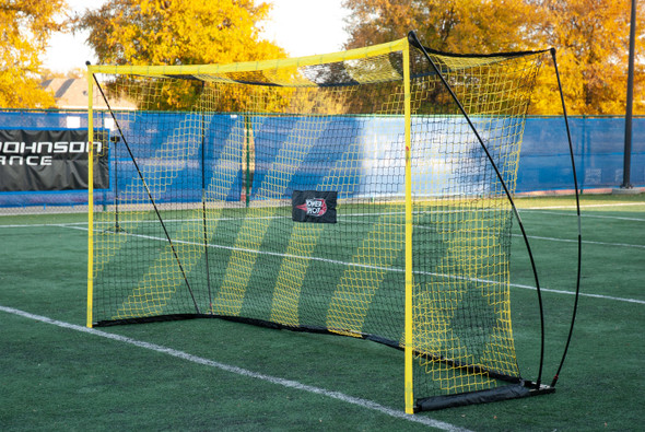 6x12 portable bow style soccer goal - black and yellow striped net
