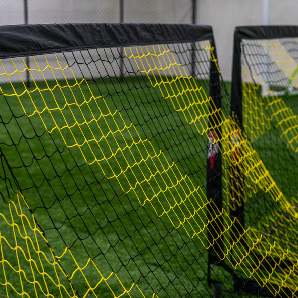 Striped soccer pop up goals black and yellow