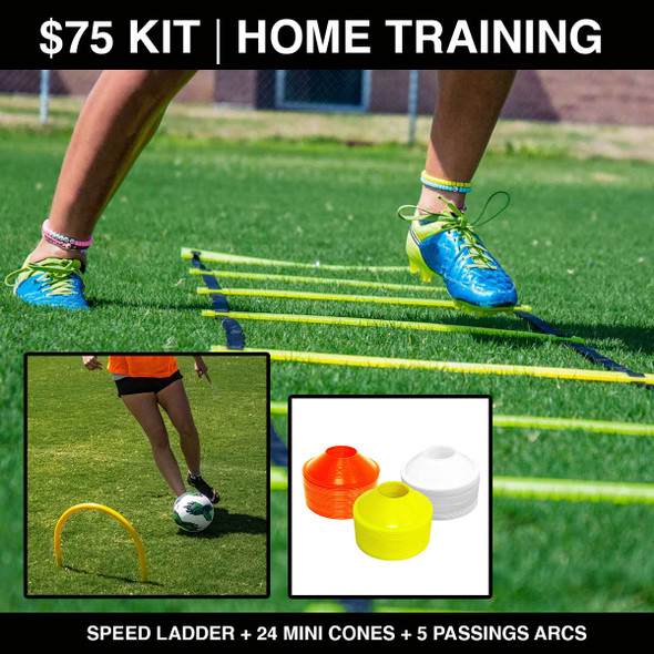 $75 Home soccer training kit: Ladder, Cones, passing arcs.