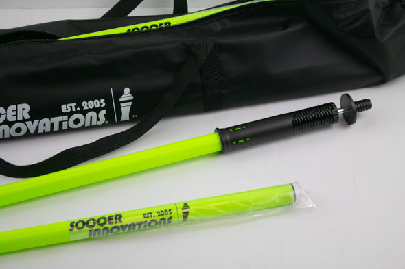 Collapsing neon green speed & agility poles for turf & grass