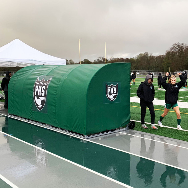 MVP III Stadium Sports Team Shelter Bench Cover - Green | Soccer Innovations Sport Bench Shelter Covers