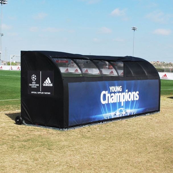 MVP III Stadium Sports Team Shelter Bench Cover - Adidas Black Cover| Soccer Innovations Sport Bench Shelter Covers