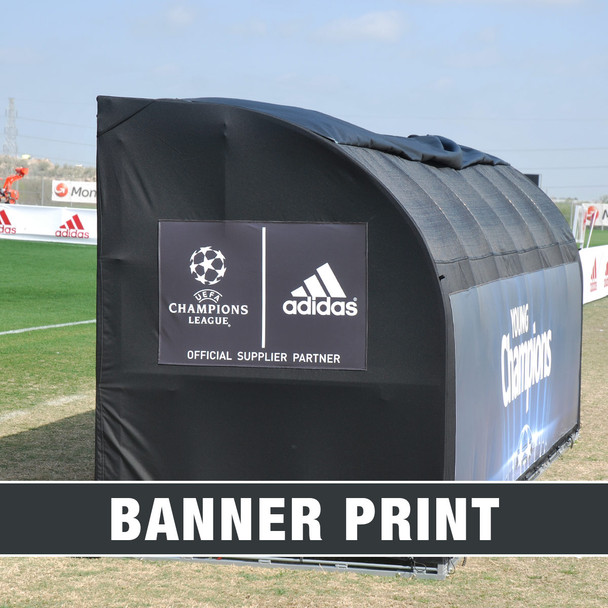 MVP III Stadium Sports Team Shelter Bench Cover with Banner Print logos | Soccer Innovations Sport Bench Shelter Covers