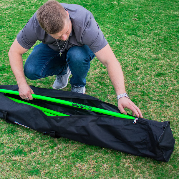 Neon green soccer Speed & Agility Pole Set with Free Carry Bag