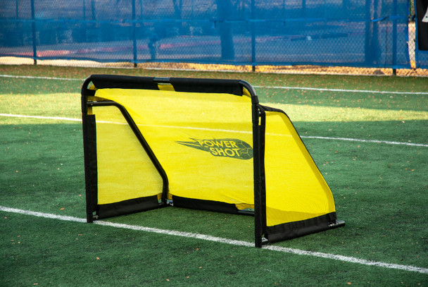 3x5 Aluminum QuickFold Soccer Goal - black and yellow - side view