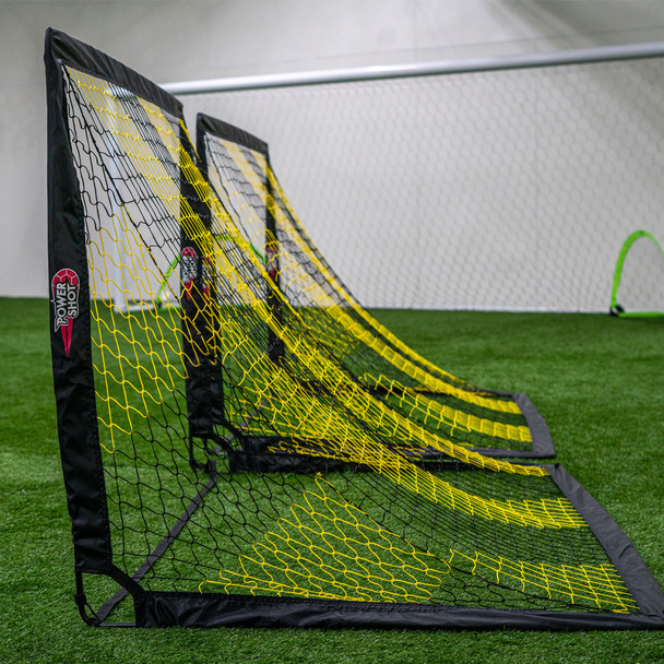 Square black and yellow 3x4 pop up soccer goals
