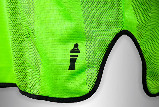 neon green soccer training bib with mannequin logo