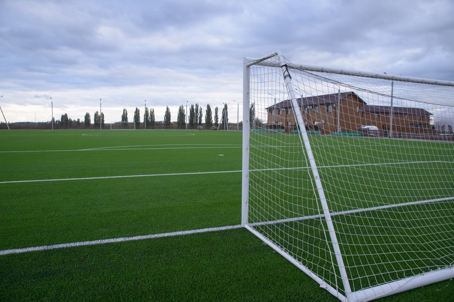 8x24 Twisted football Goal Net with square netting on soccer field