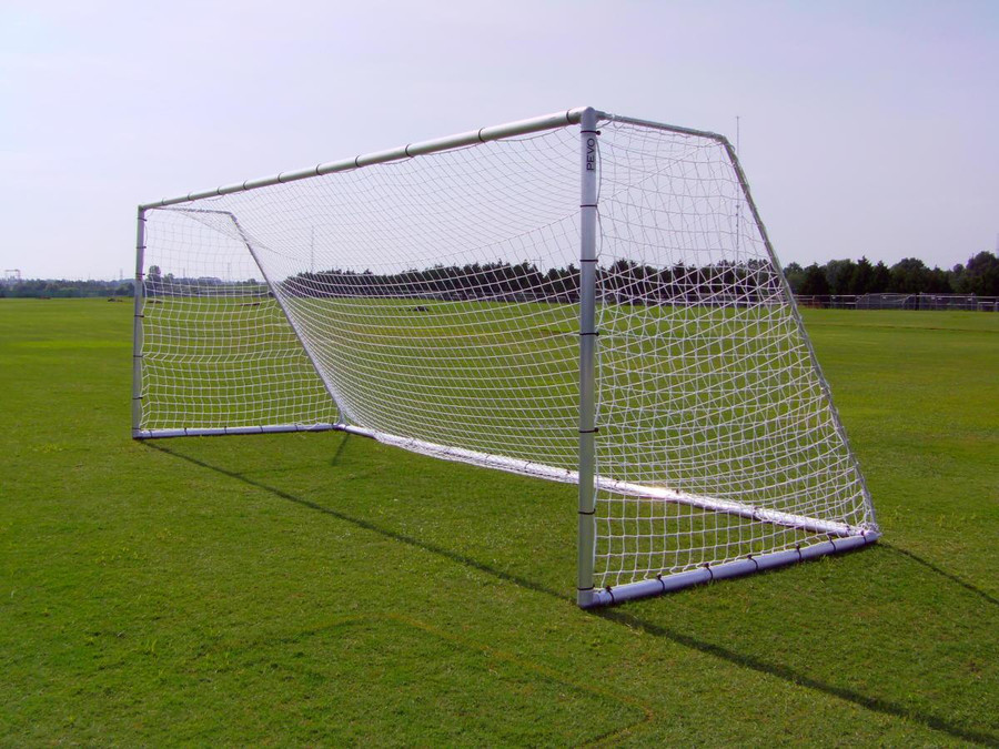 PEVO Soccer Goal Economy Series 8x24 goal side angle view