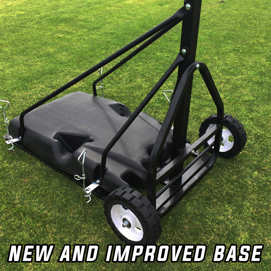Super base with diagonal support and square tubing pole adding stability and strength.  Wheels for easy relocations.