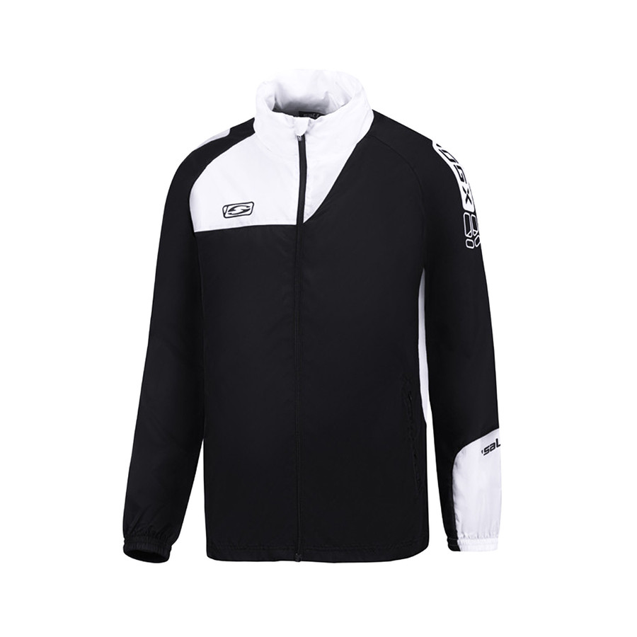 Black and white rain training jacket