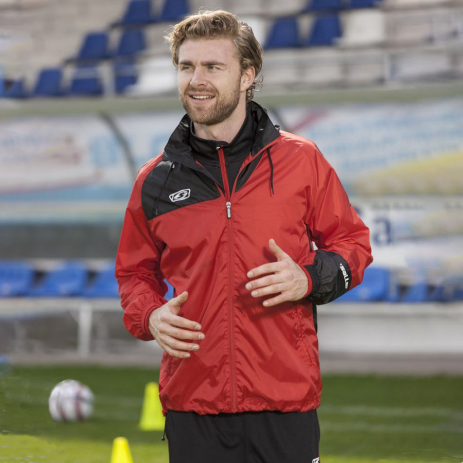 Red stadium training rain jacket