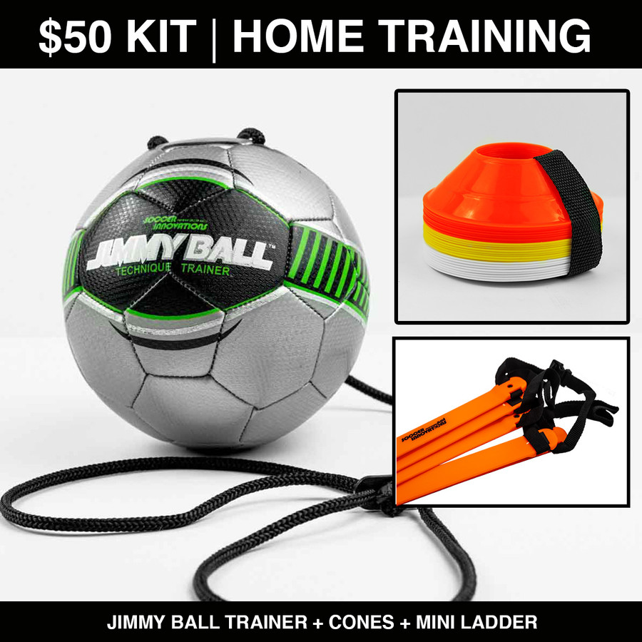 Backyard and Home Soccer Training Kit with training ball, soccer cones and speed ladder.