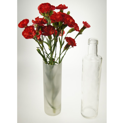 Tall Frosted vase from recycled bottle