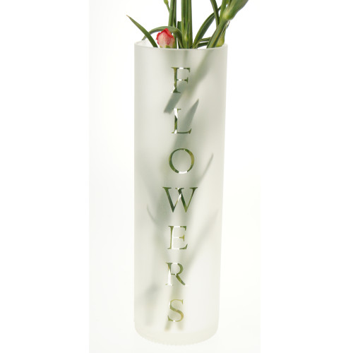 Tall Frosted vase with flower motif