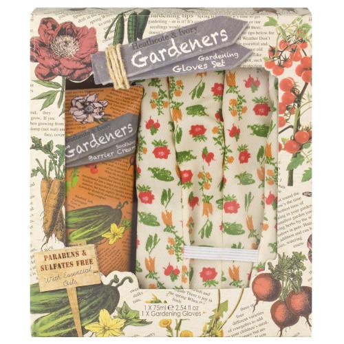 Heathcote & Ivory Gardeners Barrier Cream & Gardening Gloves Set