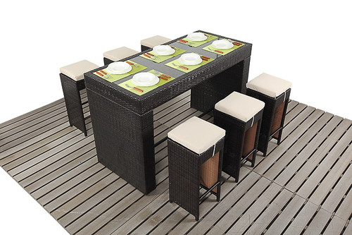 Rapallo Luxe Rattan Bar Table & Six Stools