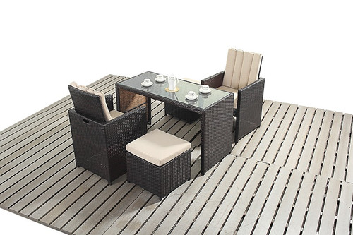 Rapallo Luxe Rattan Cube Table and Two Chairs