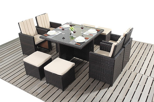 Rapallo Luxe Rattan Cube Table & Four Chairs