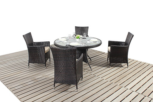 Rapallo Luxe Rattan Dining Table & Four Chairs