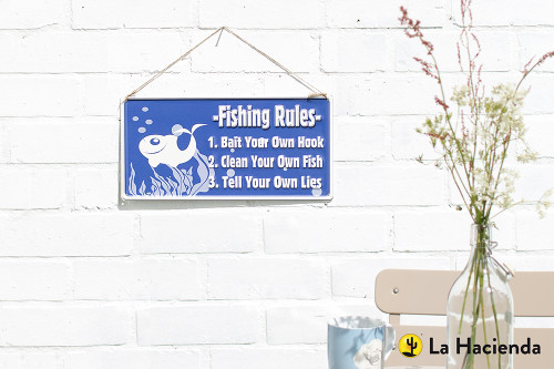 Embossed Metal Sign - Fishing Rules