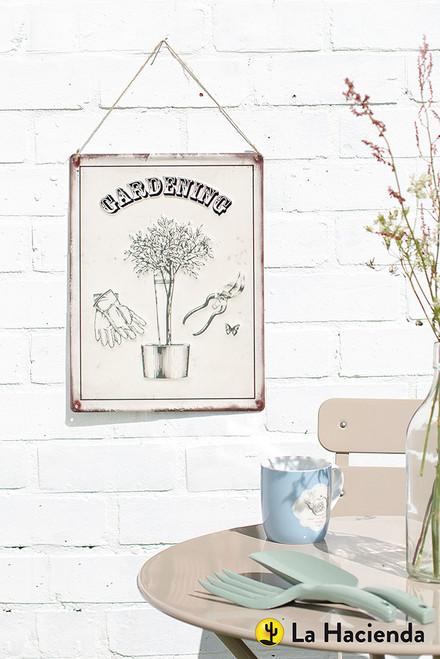 Embossed Metal Sign - Gardening
