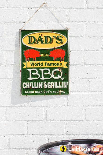 Embossed Metal Sign - Dad's BBQ