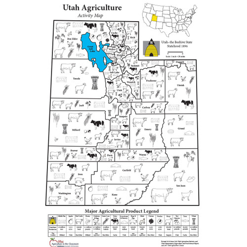 Utah Agriculture Activity Map Poster