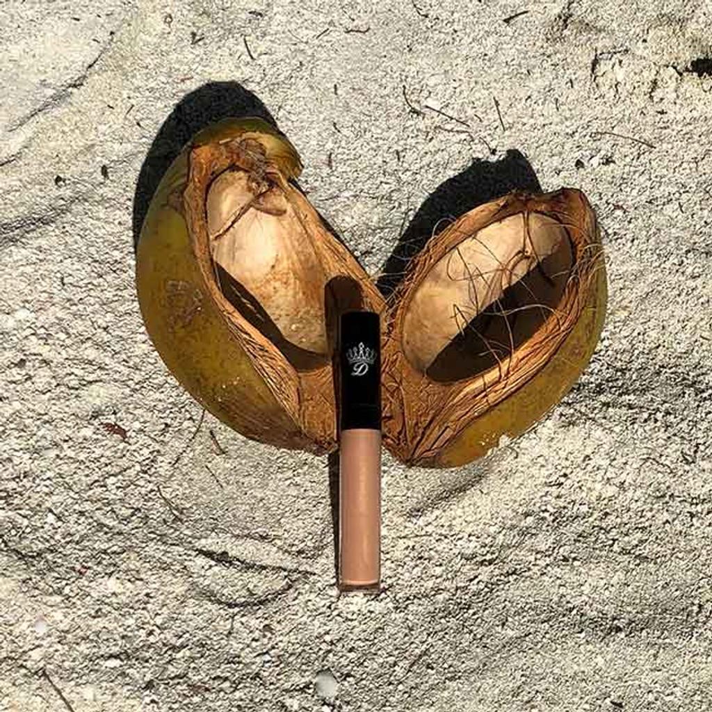 In The Buff  nude custom lip gloss cruelty-free sulfate-free cocounut shell  Dawes Custom Cosmetics