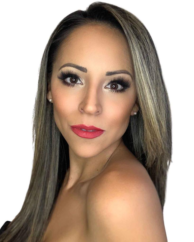 Latin model wearing Red Custom Lipstick Dawes Custom Cosmetics