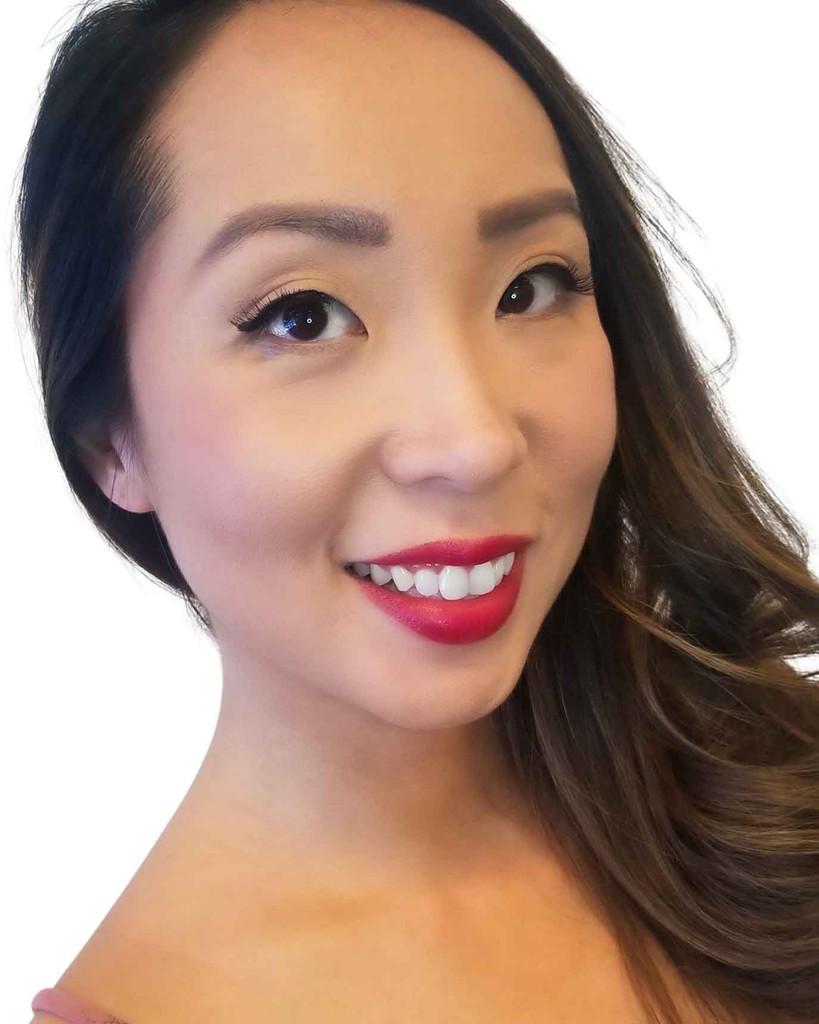 Asian female model cruelty-free vegan Red Custom Lipstick Dawes Custom Cosmetics