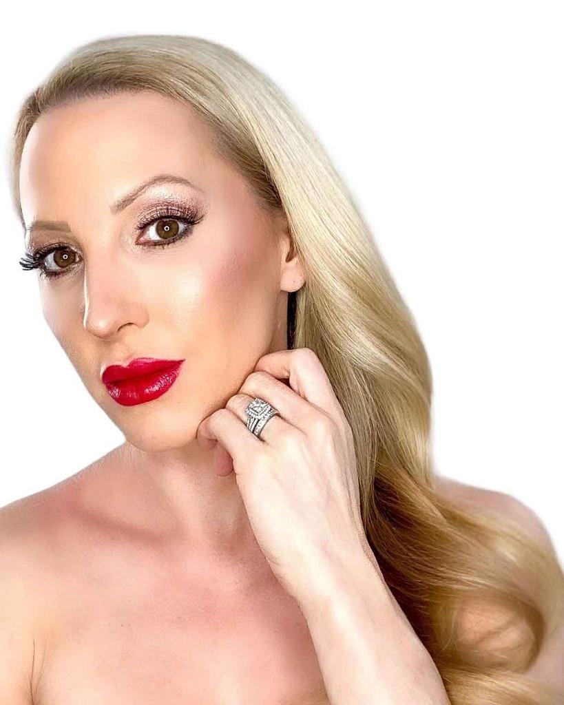 Blonde Beauty Model Seduction Red Custom Lipstick Dawes Custom Cosmetics