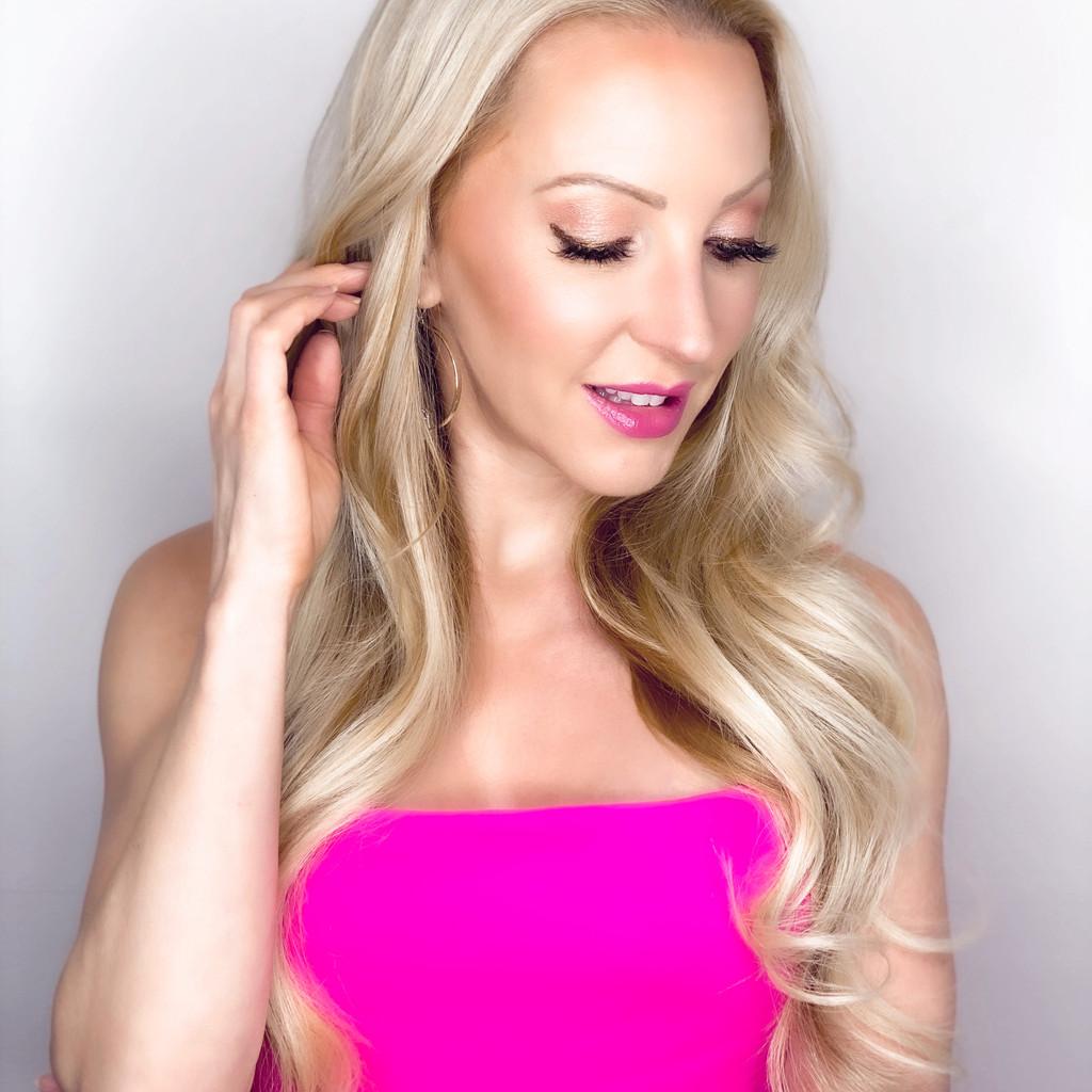 pink lipstick blonde model pink dress Dawes Custom Cosmetics