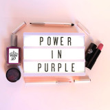 Dawes Custom Cosmetics Power in Purple daytime collection collage to benefit American Cancer Society 2019