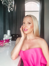Eve Dawes pink dress pink lipstick