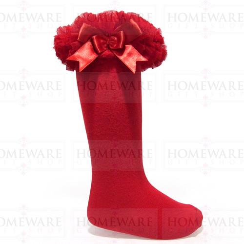 Girls Babies Red tutu socks Spanish knee high satin bow socks tulle frilly kids