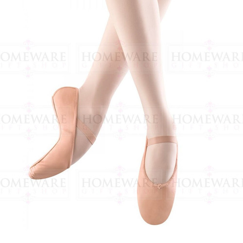 Kids pink ballet shoes, bloch arise leather dance shoes, full suede sole, pre-attached elasticated strap