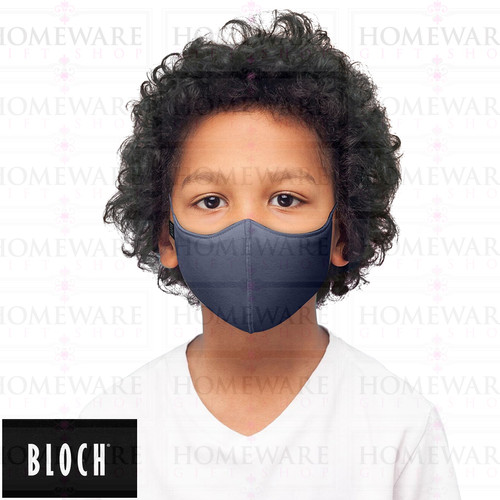 GIRLS BOYS FACE COVER MASK WASHABLE SOFT NAVY BLOCH
