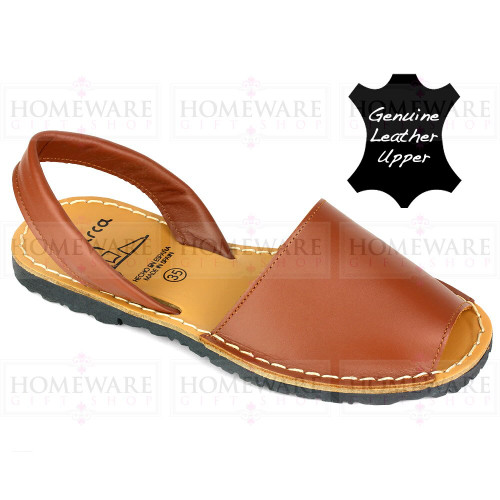 Ladies Manorcan Spanish Tan Leather Slingback Sandal