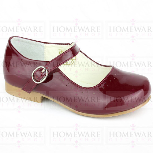 Mary Jane Girls Patent Burgundy party Shiny Spanish shoes