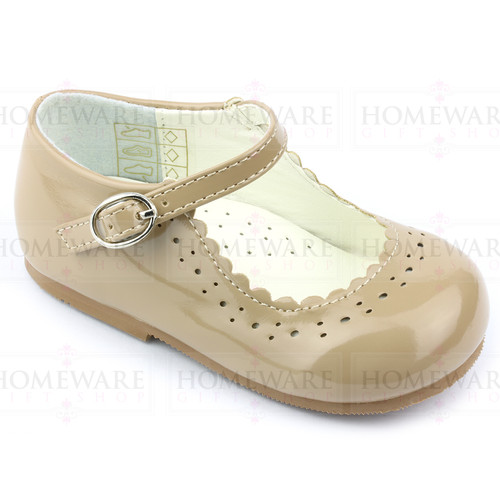 Girls Babies Camel beige Patent Mary Jane Shoes