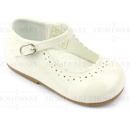 Girls Babies Cream Ivory Patent Mary Jane Shoes