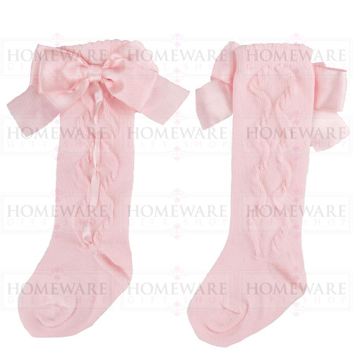 Girls Spanish Style Pink Knee High Slotted Bow Socks